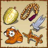 Tiger set, beads and exotic items, five images Stock Photography