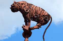 Tiger shaped metal art work made out of scra Stock Photography