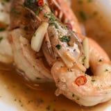 Tiger Shrimp en salsa de vino Imagen de archivo libre de regalías