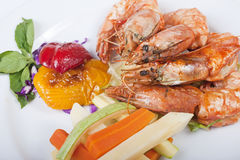 Tiger shrimp a la carte meal Stock Images