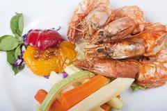 Tiger shrimp a la carte meal stock images