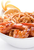 Tiger shrimp with noodles Royalty Free Stock Images