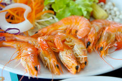 Tiger shrimp prawns with fresh lettuce in plate Stock Photography