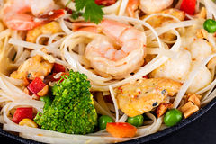 Tiger shrimp with rice noodles Stock Photo