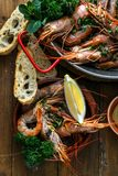 Tiger shrimps in a ceramic plate, close view Stock Photos