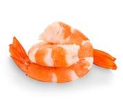 Tiger Shrimps Gamberetti isolati su una priorità bassa bianca fotografia stock