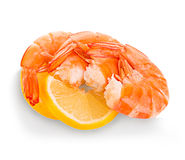 Tiger shrimps with lemon slice . Prawns with lemon slice isolated on a white background. Seafood Royalty Free Stock Photo