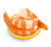 Tiger shrimps with lemon slice . Prawns with lemon slice isolated on a white background. Royalty Free Stock Photo