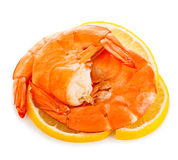 Tiger shrimps with lemon slice . Prawns with lemon slice isolated on a white background. Seafood. Royalty Free Stock Image