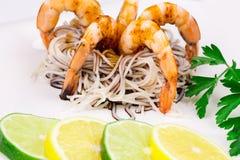 Tiger shrimps with pasta Stock Photos