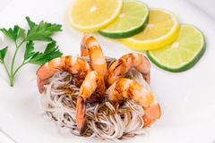 Tiger shrimps with pasta Royalty Free Stock Image