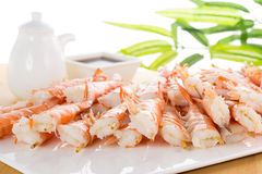 Tiger shrimps with soy sauce on white plate Stock Image
