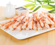 Tiger shrimps with soy sauce on white plate Stock Photos