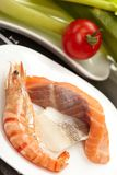 Tiger shrimps with vegetables Royalty Free Stock Photos