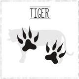 Tiger Silhouette con los rastros stock de ilustración