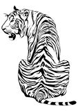 Tiger sit down and look back design for tribal tattoo. With white background Stock Photography