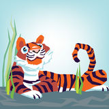 Tiger sitting. Cute tiger sitting in grass illustration Stock Images