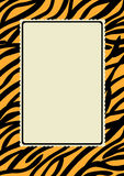 Tiger Skin Print Border Frame. Frame with a skin tiger print and lacy edge interior Royalty Free Stock Images
