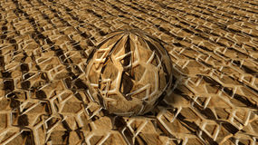 Tiger skin sphere 3D. Tiger skin look in 3D orientation with same texture sphere Stock Image