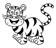 A tiger smiling for coloring Royalty Free Stock Photo
