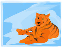Tiger in the snow. The tiger - a symbol of 2010 ( illustration Royalty Free Stock Image