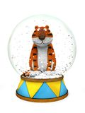 Tiger in the snow globe. Symbol of New Year Stock Photo