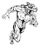 Tiger sports mascot running. A tiger man character or sports mascot charging, sprinting or running Royalty Free Stock Photos