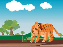 Tiger is stand alone in the forest Royalty Free Stock Image