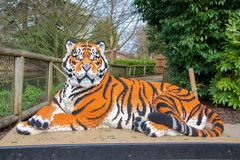 A Tiger statue made from Lego bricks. CHESTER, UNITED KINGDOM - MARCH 27TH 2019: A Tiger statue made from Lego bricks stock image