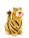 Tiger statuette on white. Jolly tiger figurine.symbol of 2010 year Royalty Free Stock Image