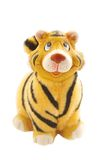 Tiger statuette on white. Jolly tiger figurine.symbol of 2010 year Royalty Free Stock Photography
