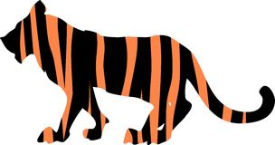 Tiger striped silhouette Stock Photography