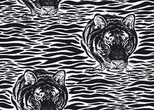 Seamless pattern with Tiger fur stripes and tiger head close-up. Tiger stripes and tiger head close-up seamless pattern. Motives of animals of wildlife. Modern vector illustration