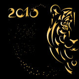 Tiger stylized silhouette, symbol year. Tiger stylized silhouette, symbol 2010 year Royalty Free Stock Images