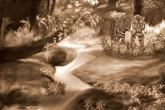 A Tiger in the Sumatra Forest Sepia stock illustration