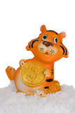 Tiger, a symbol of 2010 on a snow. Stock Photography