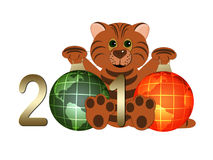 Tiger - symbol 2010 year. Tiger with figures 2010 and globes on white background Royalty Free Stock Image