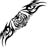 Tiger and symmetric tribals - vector illustration. Royalty Free Stock Image