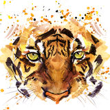 Tiger T-shirt graphics, tiger eyes illustration with splash watercolor textured background.
