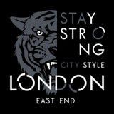 Tiger t shirt 009. Tiger t-shirt print design. London city typography. Tee graphics. Vector illustration Stock Image