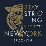 Tiger t shirt 010. Tiger t-shirt print design. New York City typography. Tee graphics. Vector illustration Stock Photography