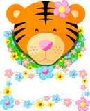 Tiger Tag Name Kids 02. You can add your child's name under the tiger's head to make the invitation card or make a shirt and can be used according to your needs Royalty Free Stock Images