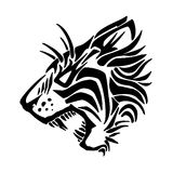 Tiger tattoo. Tiger silhouette isolated on white background Stock Images