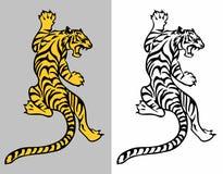 Tiger tattoo. Predatory Tiger like a lizard – vector tattoo. Creeping tiger vector illustration