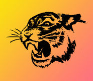 Tiger. Tger on a yellow-red background stock illustration
