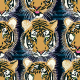 Tiger Tongue Out Seamless Pattern Stock Images