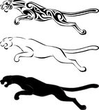 Tiger tribal tattoo and silhouette Royalty Free Stock Image