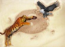 Tiger und König von Vögeln Lizenzfreie Stockfotos
