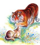 Tiger und Katze Lizenzfreies Stockbild