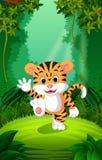Tiger utom fara och grön skog vektor illustrationer